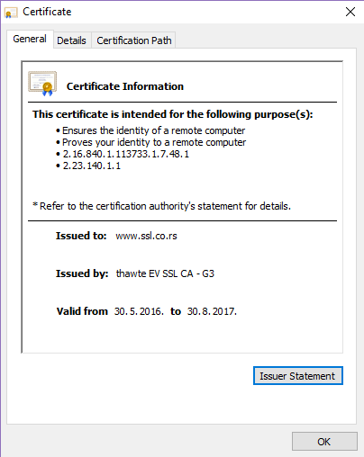 See SSL certificate details